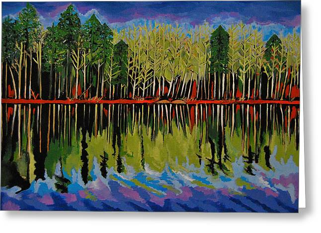 Grant's Lake Reflections Greeting Card by Kathleen Sartoris