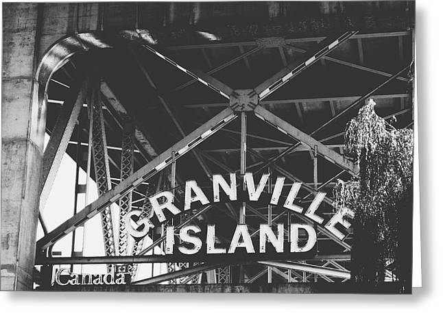 Granville Island Bridge Black And White- By Linda Woods Greeting Card