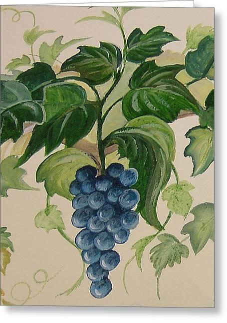 Syrah Greeting Cards - Grape and Vine Greeting Card by Barbara Wilson