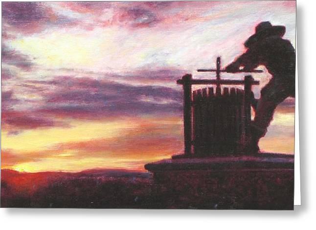 Wine Tour Paintings Greeting Cards - Grape Crusher Napa Valley Sunset Greeting Card by Takayuki Harada