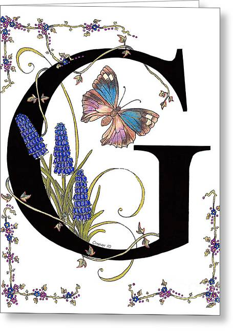 Grape Hyacinth And Genoveva Azure Butterfly Greeting Card by Stanza Widen