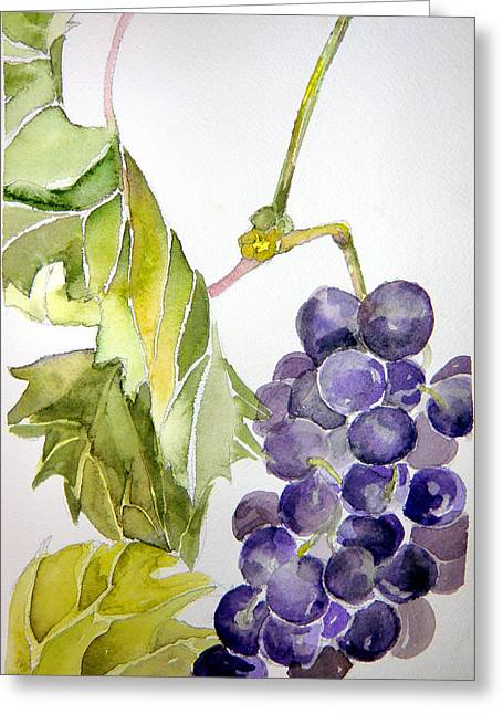 Grape Vine Greeting Card by Mindy Newman