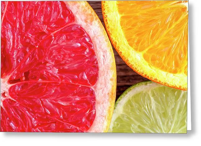 Grapefruit Orange Lime Greeting Card by Teri Virbickis