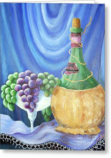 Grapes And Lace Greeting Card by Janna Columbus