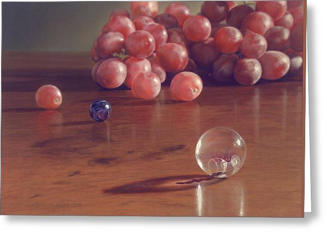Grapes And Marbles Greeting Card by Barbara Groff
