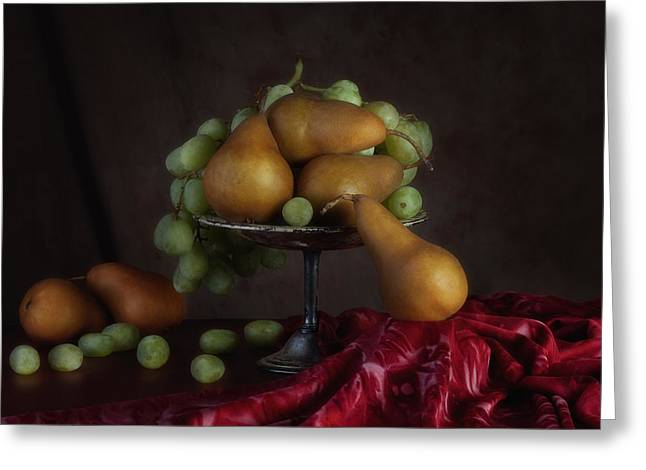 Grapes And Pears Centerpiece Greeting Card