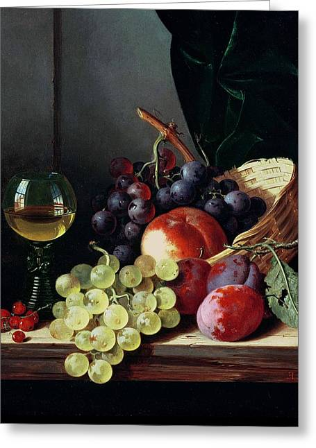 Grapes And Plums Greeting Card by Edward Ladell