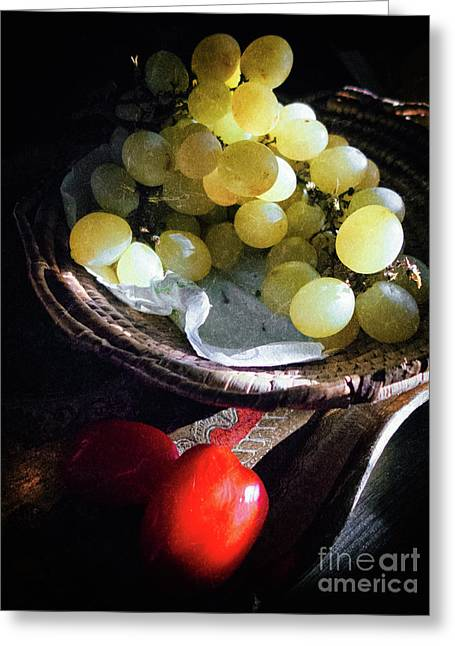 Greeting Card featuring the photograph Grapes And Tomatoes by Silvia Ganora