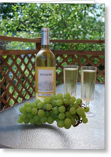 Grapes And Wine Greeting Card by Gordon Mooneyhan