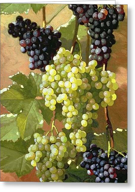 Grapes Greeting Card by Edward Chalmers Leavitt