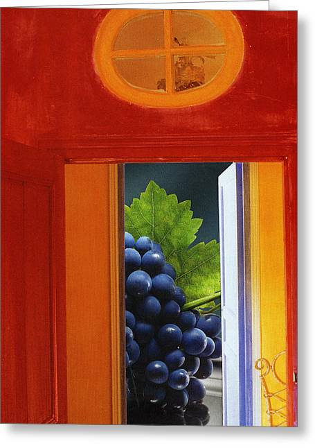 Grapes In A Red Room Greeting Card by Francine Gourguechon