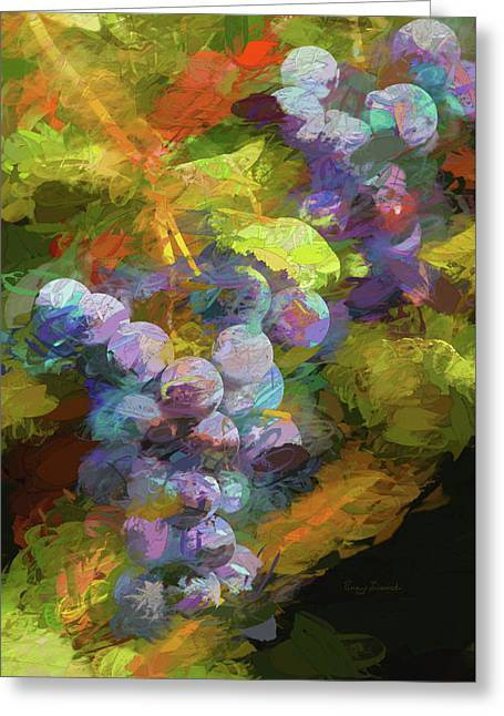 Greeting Card featuring the photograph Grapes In Abstract by Penny Lisowski