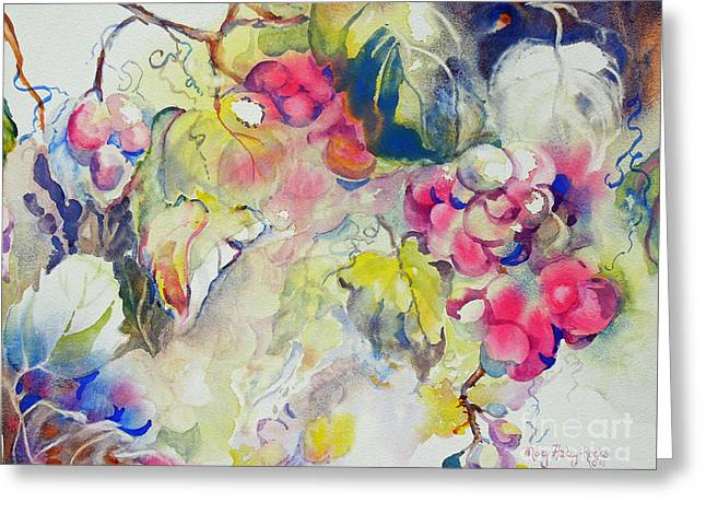 Greeting Card featuring the painting Grapes In Season by Mary Haley-Rocks