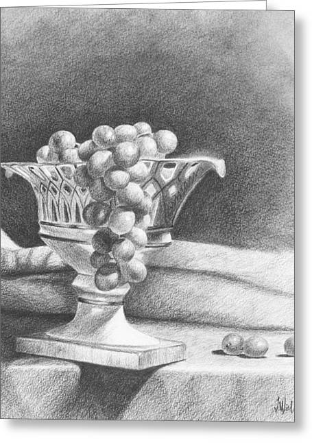 Greeting Card featuring the drawing Grapes by Joe Winkler