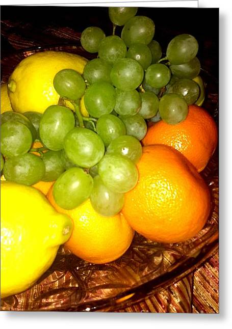 Grapes, Mandarins, Lemons Greeting Card