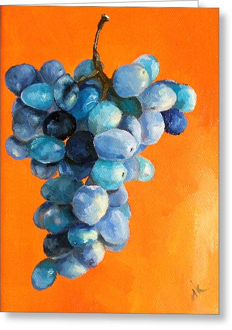 Bunch Of Grapes Paintings Greeting Cards - Grapes on Orange Greeting Card by Diane Kraudelt