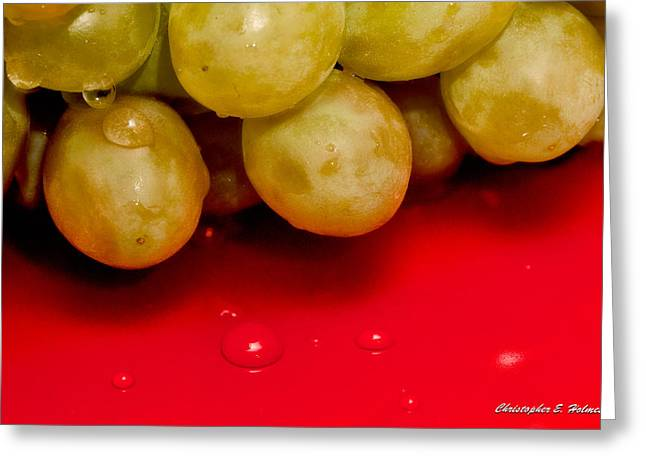 Grapes On Red Greeting Card by Christopher Holmes