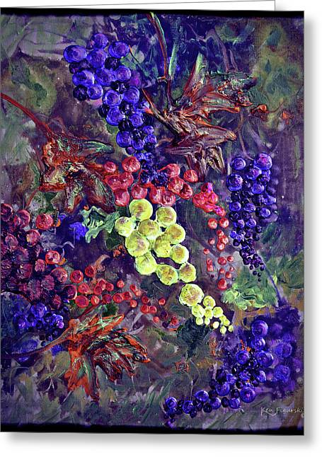 Grapes On The Vine Art 2 Greeting Card by Ken Figurski