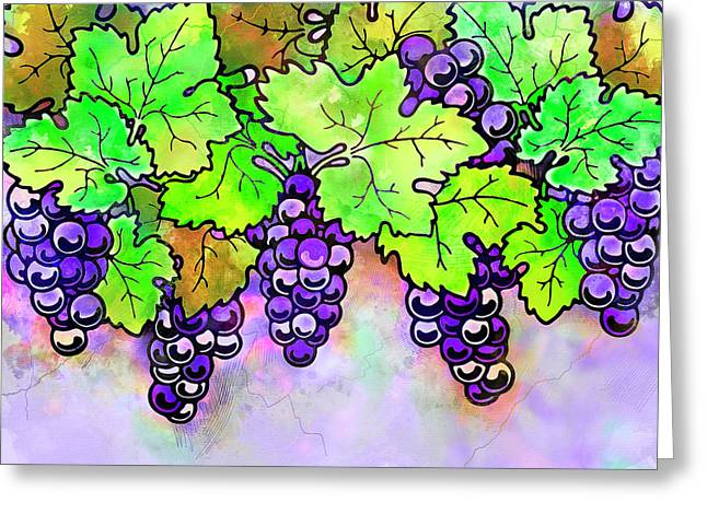 Purple Grapes On The Vine - Vintage Wine Harvest - 1 In A Series Greeting Card by Rayanda Arts
