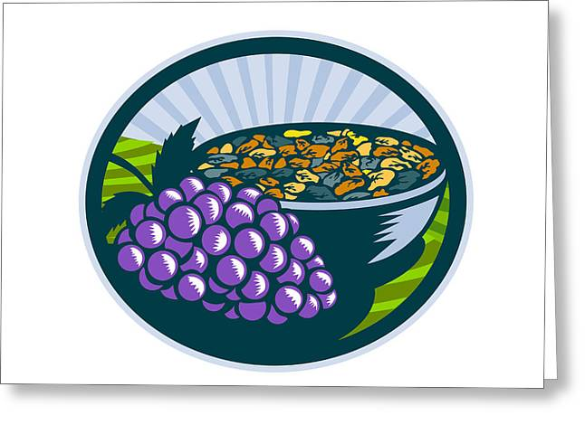 Grapes Raisins Bowl Oval Woodcut Greeting Card by Aloysius Patrimonio