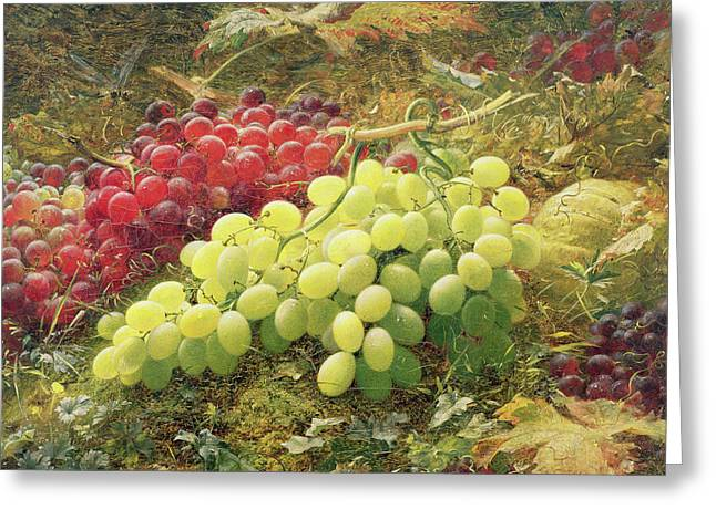 Grapes Greeting Card by William Jabez Muckley
