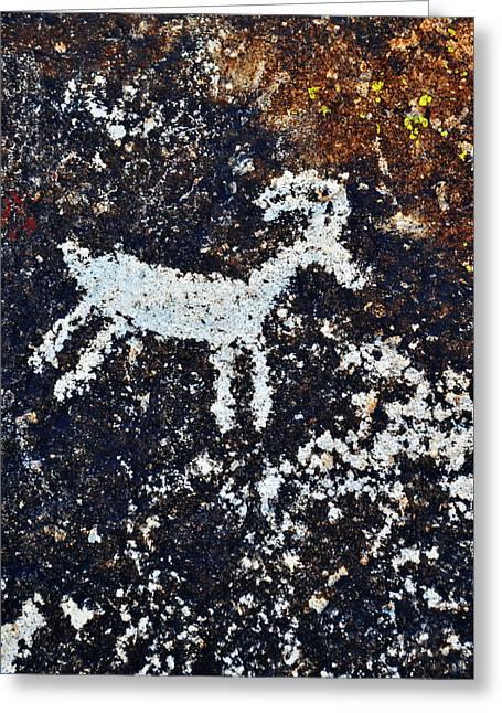 Grapevine Canyon Bighorn Sheep Petroglyph Greeting Card by Kyle Hanson