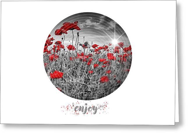 Graphic Art Enjoy Field Of Poppies - Colorkey Greeting Card by Melanie Viola