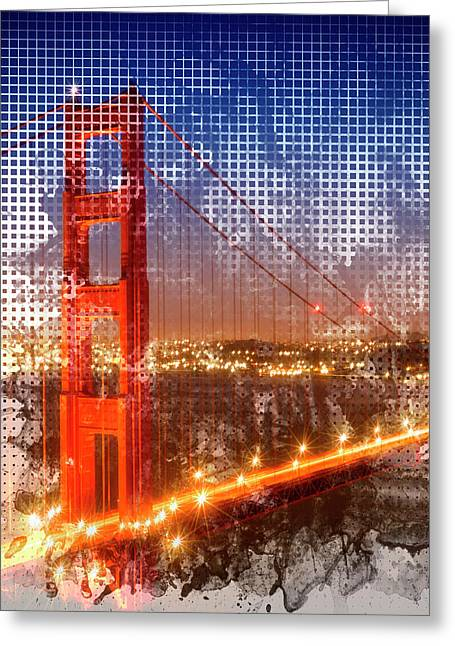 Graphic Art Golden Gate Bridge - Watercolour Style Greeting Card