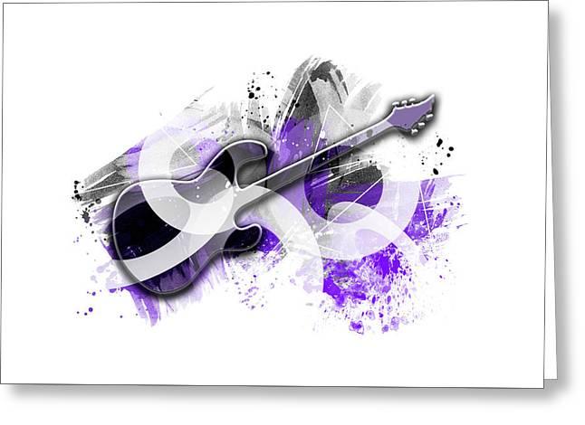 Graphic Art Guitar - Purple Greeting Card by Melanie Viola