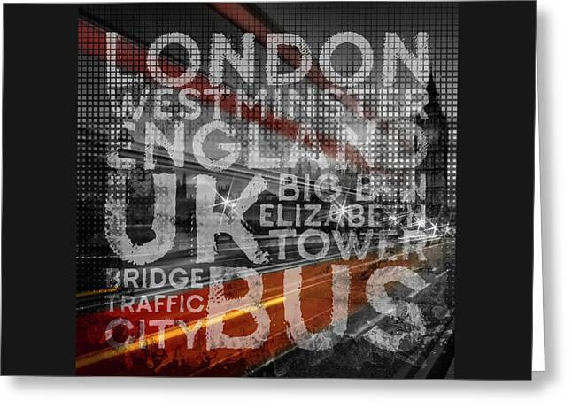 Graphic Art London Red Bus Greeting Card