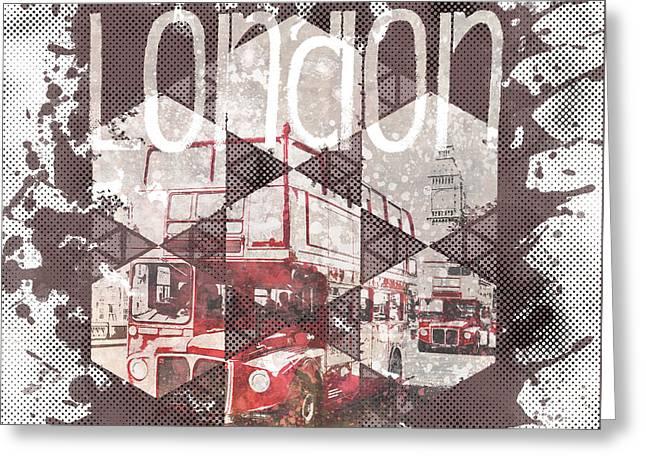 Graphic Art London Streetscene Greeting Card by Melanie Viola