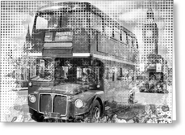 Graphic Art London Westminster Buses Greeting Card