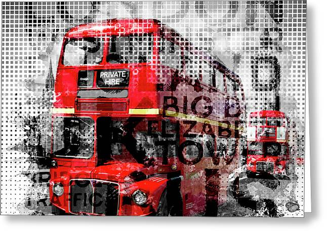 Graphic Art London Westminster Buses - Typography Greeting Card by Melanie Viola