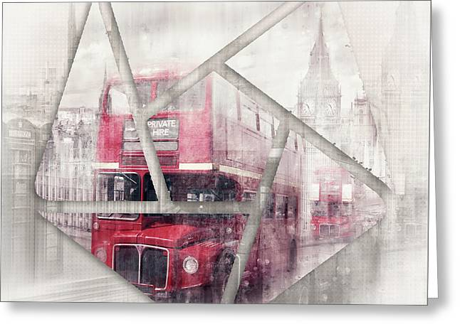 Graphic Art London Westminster Collage Greeting Card by Melanie Viola