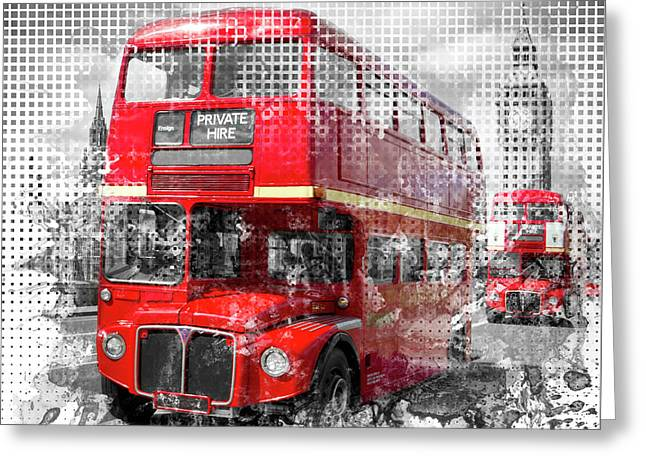 Graphic Art London Westminster Red Buses Greeting Card by Melanie Viola