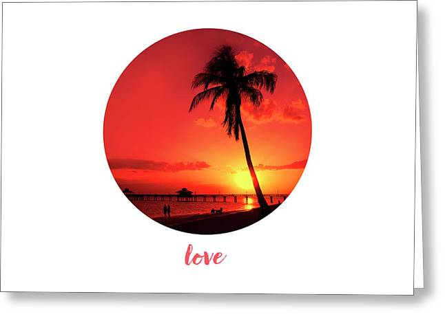 Graphic Art Love - Sunset Greeting Card by Melanie Viola