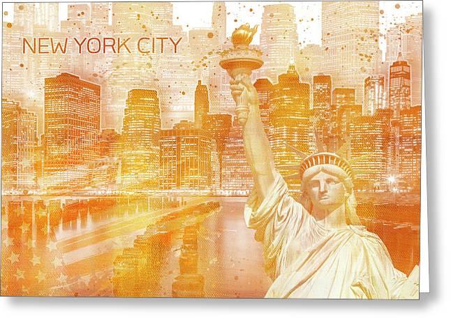 Graphic Art Manhattan Collage - Golden Greeting Card