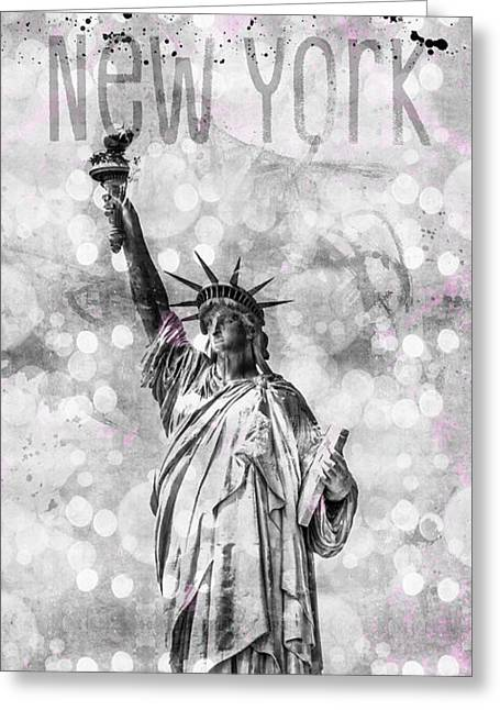 Graphic Art New York City Statue Of Liberty Greeting Card