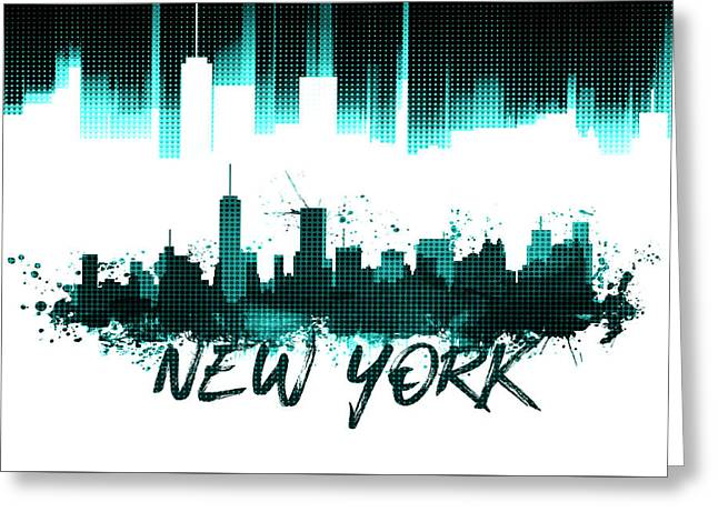 Graphic Art Nyc Skyline - Cyan Greeting Card