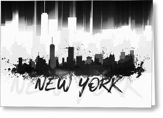 Graphic Art Nyc Skyline II - Black Greeting Card by Melanie Viola