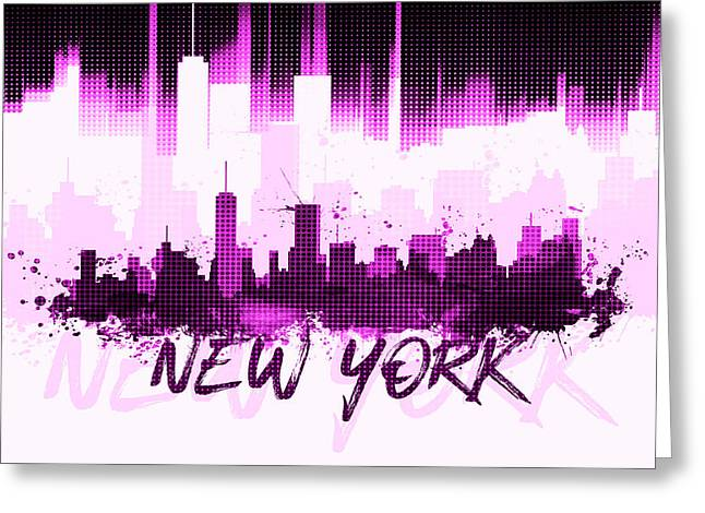 Graphic Art Nyc Skyline II - Pink Greeting Card
