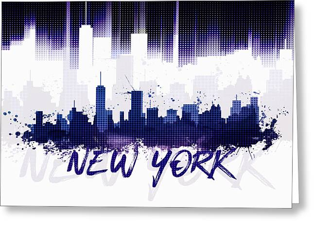 Graphic Art Nyc Skyline II - Purple Greeting Card