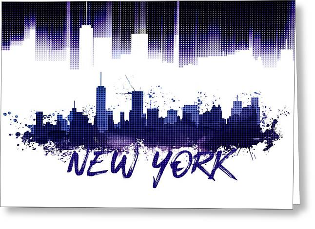 Graphic Art Nyc Skyline Purple Greeting Card