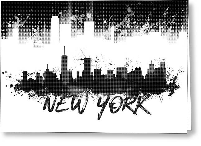 Graphic Art Nyc Skyline Splashes - Black Greeting Card