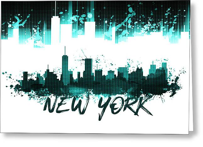 Graphic Art Nyc Skyline Splashes - Cyan Greeting Card