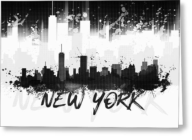 Graphic Art Nyc Skyline Splashes II - Black Greeting Card