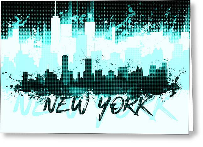 Graphic Art Nyc Skyline Splashes II Cyan Greeting Card