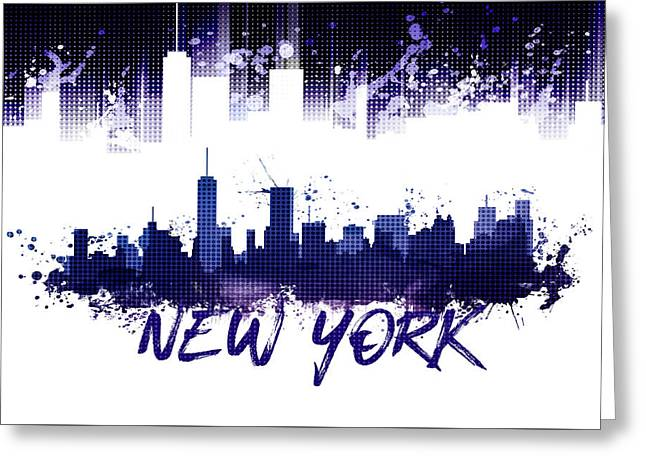 Graphic Art Nyc Skyline Splashes - Purple Greeting Card