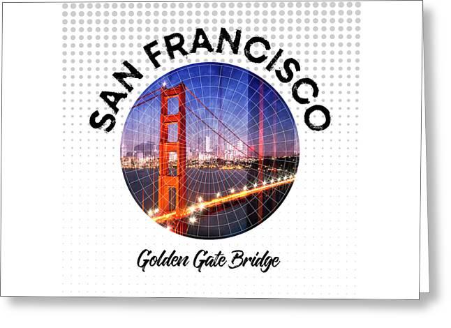 Graphic Art San Francisco Golden Gate Bridge Greeting Card by Melanie Viola
