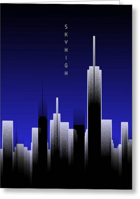 Graphic Art Skyhigh Lights - Blue Greeting Card